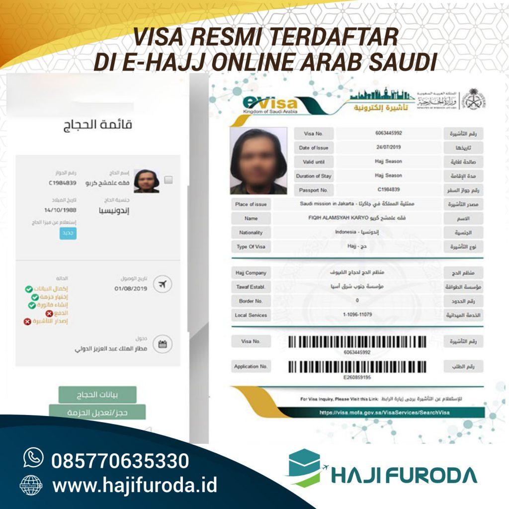 Visa Furoda Resmi terdaftar di E-Hajj Online Arab Saudi
