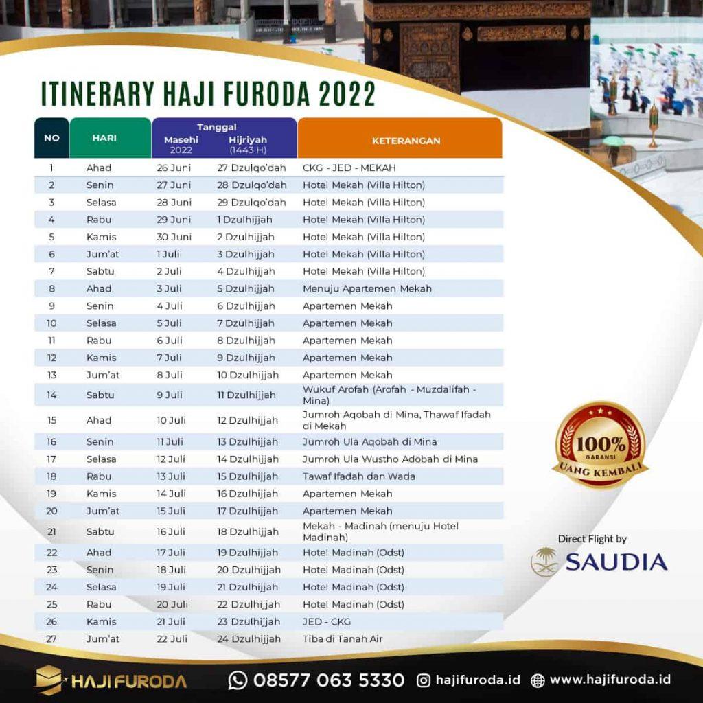 Itinerary Haji Furoda Mujamalah 1443H 2021